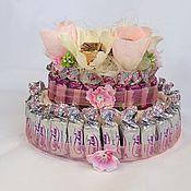 Цветы и флористика ручной работы. Ярмарка Мастеров - ручная работа .Букет из конфет, торт из конфет, подарок девушке, женщине. Handmade.