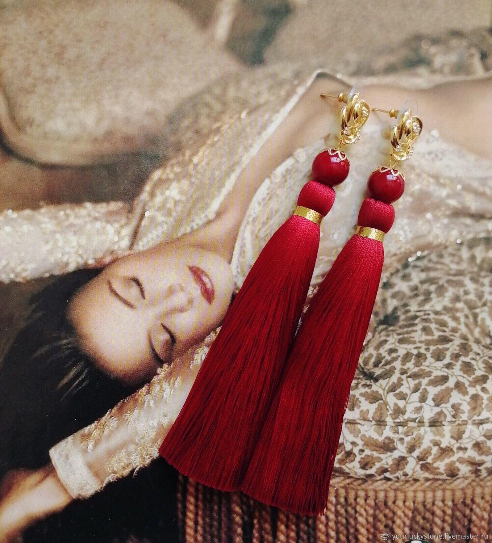 Red tassel earrings made of pearls of Mallorca, Tassel earrings, Tolyatti,  Фото №1