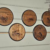 """Картины и панно ручной работы. Ярмарка Мастеров - ручная работа Набор панно (6 шт диаметр 18 см)  """"Лесные истории"""". Handmade."""