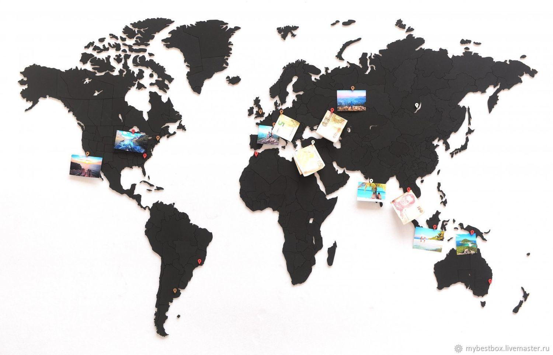 Карта мира пазл Черная 150 см х 90 см, Скульптуры, Москва, Фото №1