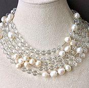 Украшения handmade. Livemaster - original item Necklace with pendant CHARM rhinestone and pearls. Handmade.