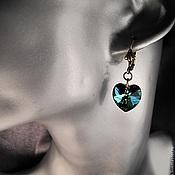 Украшения handmade. Livemaster - original item Earrings with Swarovski crystals Vitral medium hearts.. Handmade.