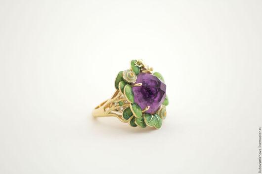 """Кольца ручной работы. Ярмарка Мастеров - ручная работа. Купить кольцо """"Лотос"""" золото, горячая эмаль. Handmade. Комбинированный, эмаль"""