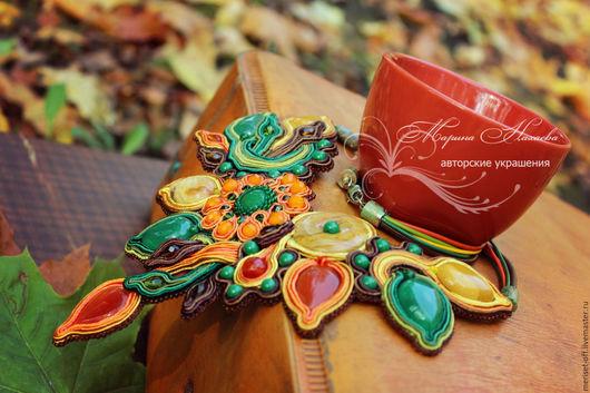 """Колье, бусы ручной работы. Ярмарка Мастеров - ручная работа. Купить Колье""""ОСЕННИХ КРАСОК ВОЛШЕБСТВО"""".. Handmade. Оранжевый, подарок женщине"""