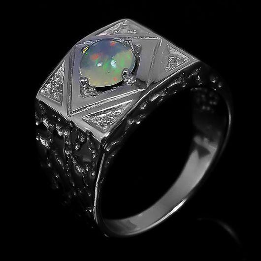 """Кольца ручной работы. Ярмарка Мастеров - ручная работа. Купить """"Unisex"""" кольцо с опалом Эфиопии. Handmade. Опал, опал кабошон"""