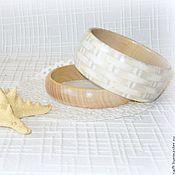 Украшения handmade. Livemaster - original item Pair beige women`s Braided bracelets. 2 Gray eco style tree. Handmade.