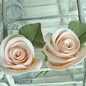 Свадебный салон handmade. Livemaster - original item Hairpins with Roses and eucalyptus made of polymer clay. Handmade.