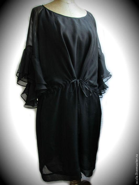 Большие размеры ручной работы. Ярмарка Мастеров - ручная работа. Купить Платье-туника из чёрного шифона. Handmade. Черный