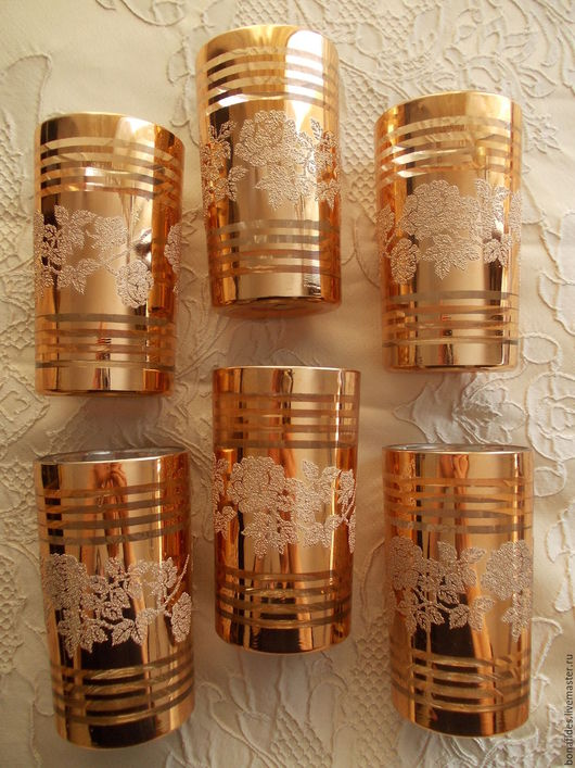 """Бокалы, стаканы ручной работы. Ярмарка Мастеров - ручная работа. Купить """" Золото и розы"""". Handmade. Стакан, золотой"""