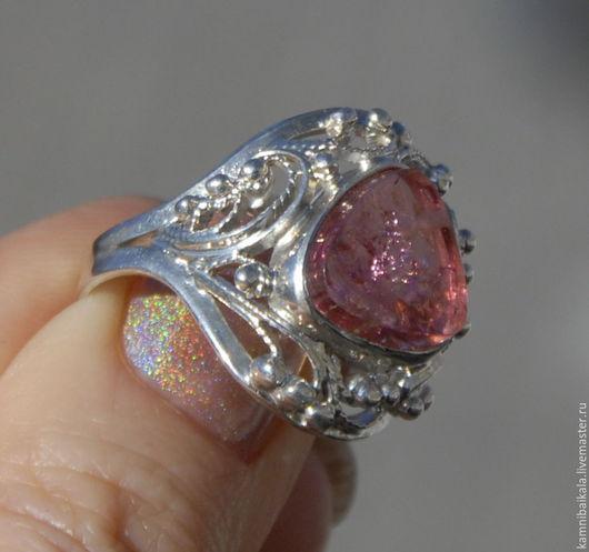 Кольца ручной работы. Ярмарка Мастеров - ручная работа. Купить Перстень с турмалином (Д38). Handmade. Брусничный, кольцо с турмалином