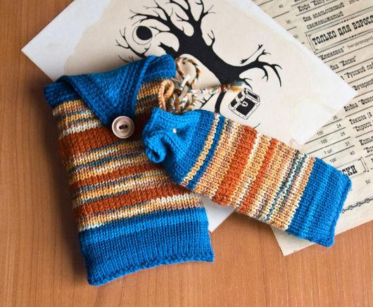 Для телефонов ручной работы. Ярмарка Мастеров - ручная работа. Купить Вязаные чехлы на небольшие девайсы. Handmade. Тёмно-бирюзовый
