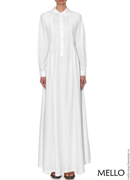 Платье в пол, Платье белое, Платье рубашка, платье летнее макси, платье осеннее в пол, платье ручная работа, платье длинное, платье с юбкой солнце, эксклюзивное платье, платья Mello