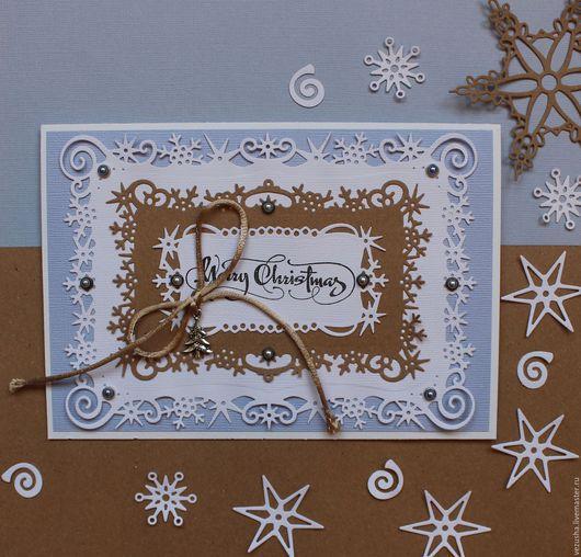 """Открытки к Рождеству ручной работы. Ярмарка Мастеров - ручная работа. Купить Открытка """"Marry Christmas"""". Handmade. Голубой, Открытка на новый год"""