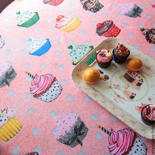 Текстиль, ковры ручной работы. Ярмарка Мастеров - ручная работа. Купить Скатерть розовая десертная. Handmade. Розовый, капкейк, Сатен