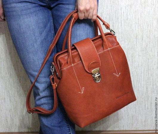 """Женские сумки ручной работы. Ярмарка Мастеров - ручная работа. Купить сумка саквояж """"Теракот"""". Handmade. Рыжий, кожа итальянская"""