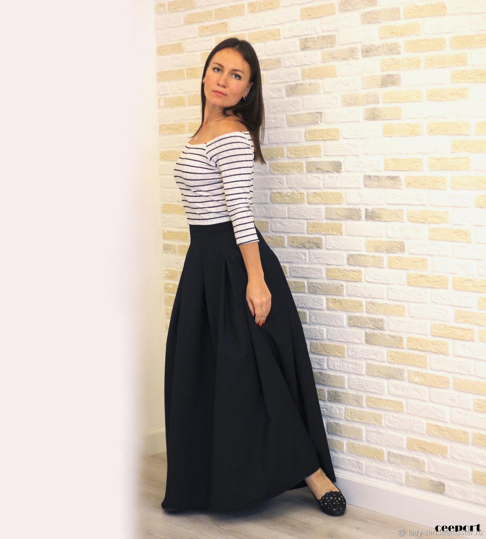 8725edfe3e4 Длинная черная юбка в пол из шерсти в полоску юбка из шерсти макси офисная  юбка в ...