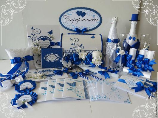 Свадебные аксессуары ручной работы. Ярмарка Мастеров - ручная работа. Купить Синий свадебный набор. Handmade. Синий, бокалы для молодоженов