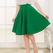 Одежда ручной работы. Ярмарка Мастеров - ручная работа Зеленая юбка-солнце, юбка клеш. Handmade.