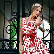 Одежда ручной работы. Ярмарка Мастеров - ручная работа Платье сердце и розы миди. Handmade.