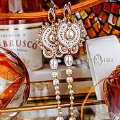 Украшения handmade. Livemaster - original item White pearl earrings. Embroidered earrings. Soutache earrings. Handmade.