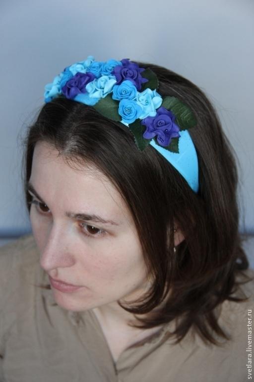 """Диадемы, обручи ручной работы. Ярмарка Мастеров - ручная работа. Купить Обруч  для волос """"Лондонский топаз"""". Handmade. Синий"""