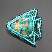 """Украшения handmade. Livemaster - original item Брошь Рыба моя """"Хризоколла"""" из бисера и натурального камня. Handmade."""