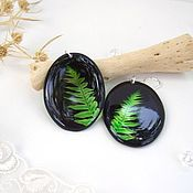 Украшения handmade. Livemaster - original item Transparent Earrings Oval with Leaf and Fern on a Black background Eco. Handmade.