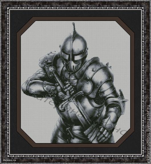 Рыцарь с мечом. Авторская схема для вышивки крестом. Скрин схемы.