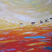 """Картины и панно ручной работы. Ярмарка Мастеров - ручная работа """"Золотая долина"""" 60х60 см оранжевая картина маслом мастихином пейзаж. Handmade."""