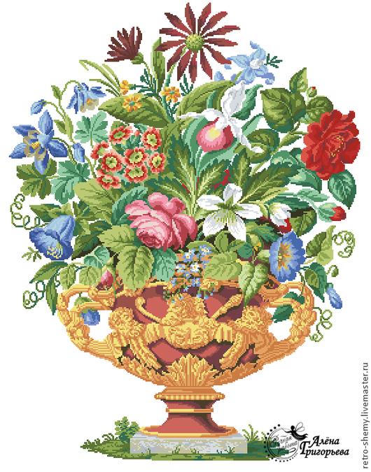 """Вышивка ручной работы. Ярмарка Мастеров - ручная работа. Купить Схема вышивки """"Античная ваза"""". Handmade. Схема для вышивки"""