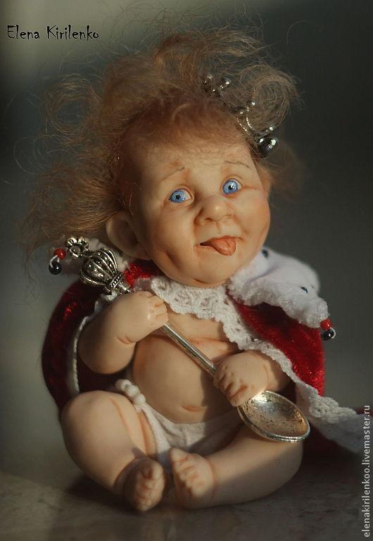 Коллекционные куклы ручной работы. Ярмарка Мастеров - ручная работа. Купить Louie II. Handmade. Ярко-красный, ложка, кружево