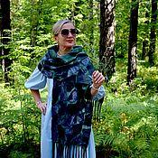 Аксессуары handmade. Livemaster - original item Wool and cotton felted scarf, unisex, size 40 x 190 cm. Handmade.