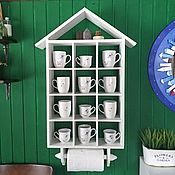 Для дома и интерьера handmade. Livemaster - original item Shelf for cups and towel holder. Handmade.