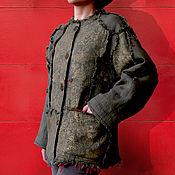 Одежда ручной работы. Ярмарка Мастеров - ручная работа Льняной утепленный дизайнерский жакет. Handmade.