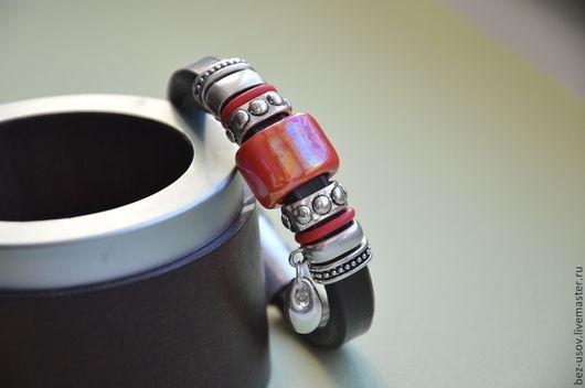 """Браслеты ручной работы. Ярмарка Мастеров - ручная работа. Купить Кожаный браслет Регализ """"Помада"""". Handmade. Коричневый, браслет с подвесками"""