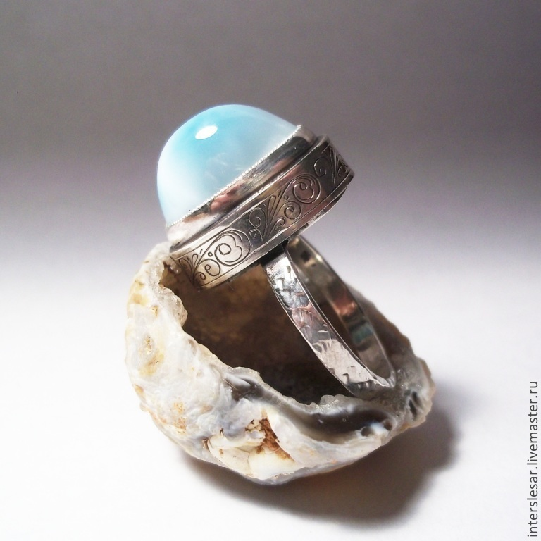 Ring with larimar 'On the crest of a wave', Rings, Moscow,  Фото №1