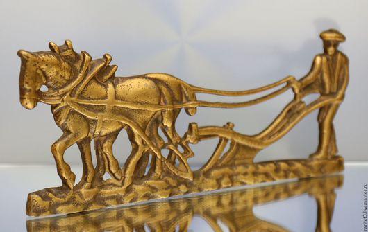 Винтажные предметы интерьера. Ярмарка Мастеров - ручная работа. Купить Панно подставка конь бронза Англия 32. Handmade. Золотой