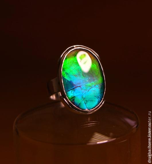 """Кольца ручной работы. Ярмарка Мастеров - ручная работа. Купить Кольцо """"Reflection"""" с Аммолитом. Handmade. Бирюзовый, опал эфиопский, аммолит"""