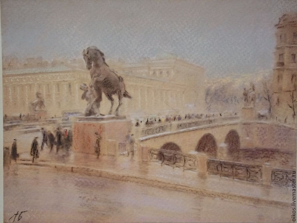 Painting with pastels - the Anichkov bridge, Pictures, St. Petersburg,  Фото №1