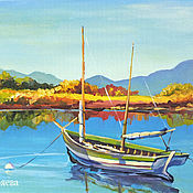 """Картины и панно ручной работы. Ярмарка Мастеров - ручная работа """"Тихое-тихое утро"""" картина с лодкой на реке. Handmade."""