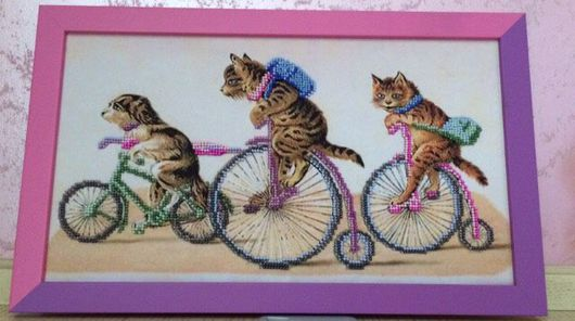 Животные ручной работы. Ярмарка Мастеров - ручная работа. Купить Веселый марафон - коты ). Handmade. Подарок, картина бисером