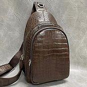 Сумки и аксессуары handmade. Livemaster - original item Crossbody bag, made of genuine crocodile leather, in brown color.. Handmade.
