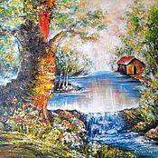 Картины ручной работы. Ярмарка Мастеров - ручная работа Лесной абстрактный пейзаж с водопадом и домиком Картина масло холст. Handmade.
