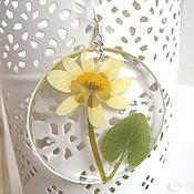 Украшения handmade. Livemaster - original item Transparent Earrings with Yellow Wild Flowers Resin Eco boho Jewelry. Handmade.