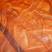 Картины и панно ручной работы. Ярмарка Мастеров - ручная работа Батик картина панно  Золотая пыль.Картина на шелке. Оранжевый. Золотой. Handmade.