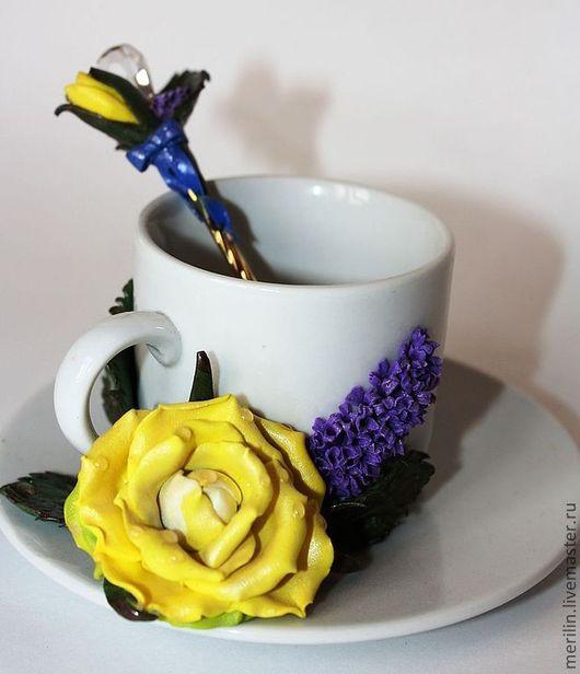"""Сервизы, чайные пары ручной работы. Ярмарка Мастеров - ручная работа. Купить Кофейно-десертный набор """" Утренняя роза"""". Handmade."""