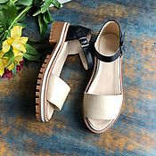Обувь ручной работы handmade. Livemaster - original item Wind sandals beige / black beige sole. Handmade.