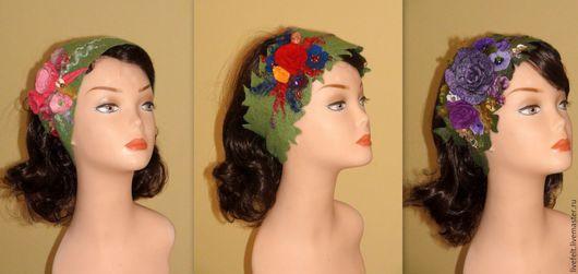 Повязки ручной работы. Ярмарка Мастеров - ручная работа. Купить Повязка полоска на голову зелёная шерсть ободок зимний. Handmade.