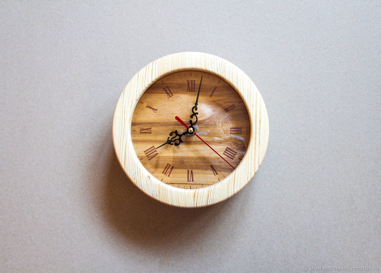 Необычные, оригинальные настенные часы из дерева в деревянной коробке, Часы классические, Санкт-Петербург,  Фото №1
