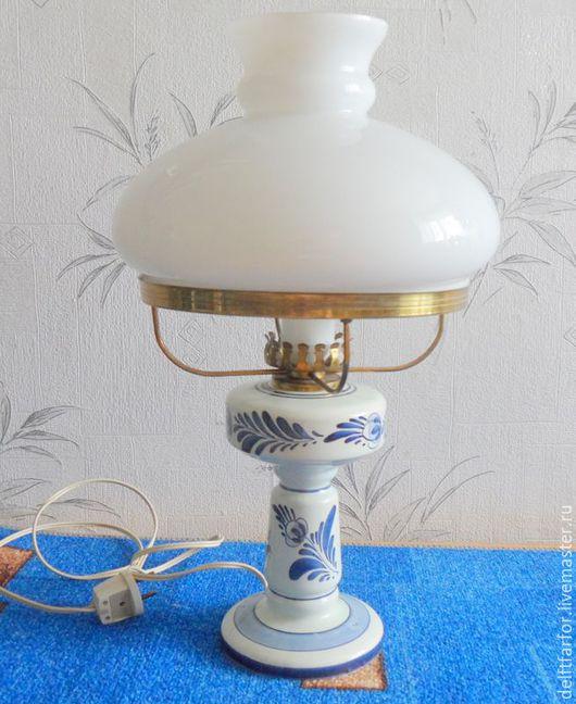 Винтажные предметы интерьера. Ярмарка Мастеров - ручная работа. Купить Лампа Delft. Handmade. Голубой, Делфтский фарфор, лампа настольная